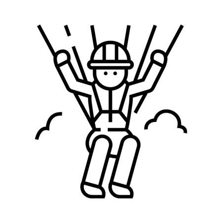 Parachutist line icon, concept sign, outline vector illustration, linear symbol.