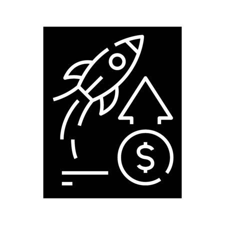 Entrepreneurial growth black icon, concept illustration, glyph symbol, vector flat sign. Ilustracje wektorowe