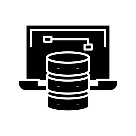 Computer data black icon, concept illustration, vector flat symbol, glyph sign.