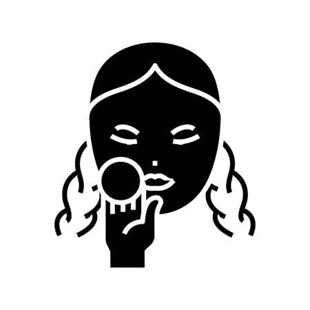 Face skin care black icon, concept illustration, vector flat symbol, glyph sign. Banco de Imagens - 141220797