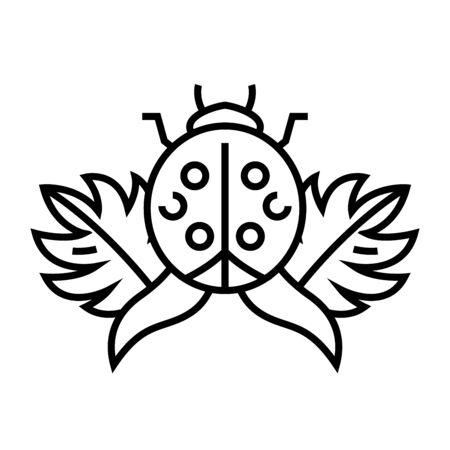 Ladybug line icon, concept sign, outline vector illustration, linear symbol. Illustration