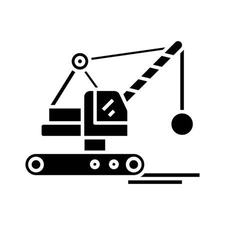 Destroying machine black icon, concept illustration, vector flat symbol, glyph sign.