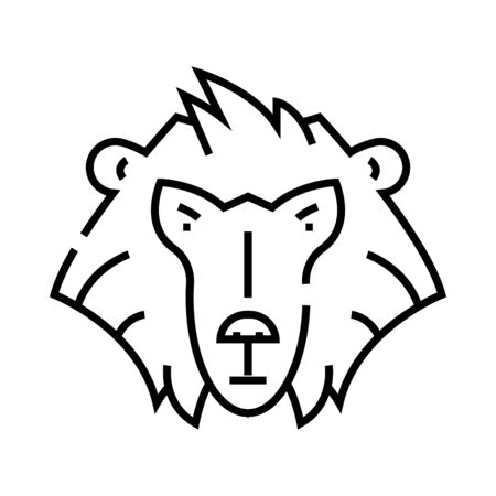 Orangutan monkey line icon, concept sign, outline vector illustration, linear symbol.