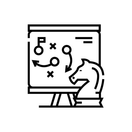 Knight move line icon, concept sign, outline vector illustration, linear symbol. 일러스트