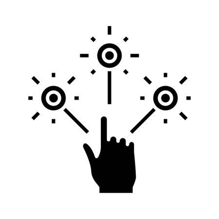 Schwierige Option schwarzes Symbol, Konzeptillustration, Glyphensymbol, Vektorflachzeichen. Vektorgrafik