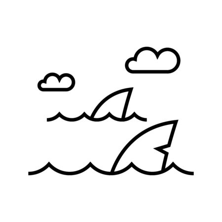 Oceans shark line icon, concept sign, outline vector illustration, linear symbol.