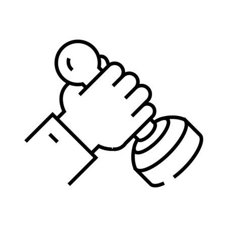 Official stamp line icon, concept sign, outline vector illustration, linear symbol.