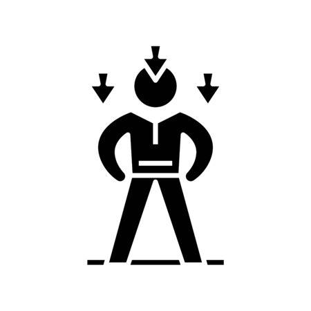 Decreasing potential black icon, concept illustration, glyph symbol, vector flat sign.
