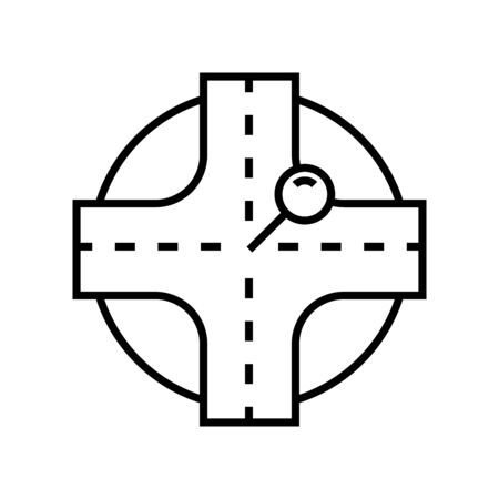 Main target line icon, concept illustration, outline symbol, vector sign, linear symbol.