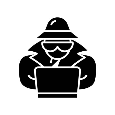 Digital espionage black icon, concept illustration, vector flat symbol, glyph sign. Illustration