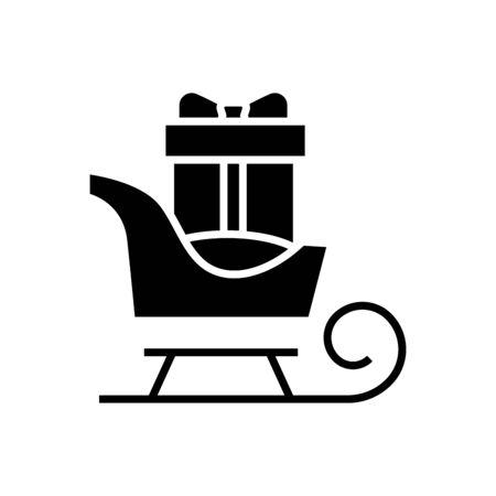 Gift sledge black icon, concept illustration, vector flat symbol, glyph sign.