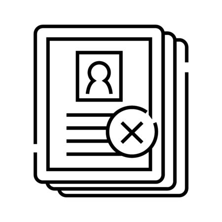 Rejected candidates line icon, concept sign, outline vector illustration, linear symbol.