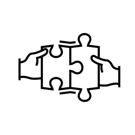 Puzzle task line icon, concept illustration, outline symbol, vector sign, linear symbol. Ilustracje wektorowe