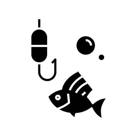 Fishing time black icon, concept illustration, vector flat symbol, glyph sign.