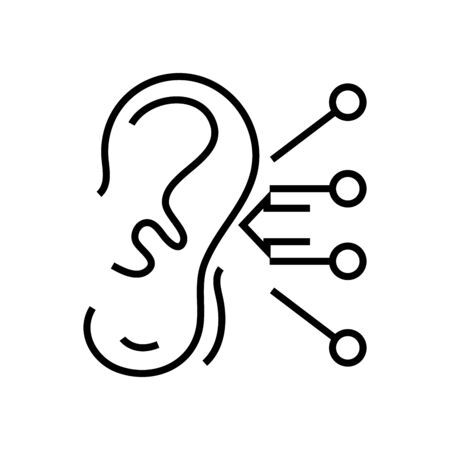 Attentive ear line icon, concept sign, outline vector illustration, linear symbol.