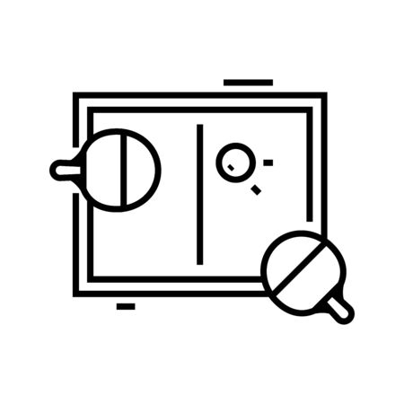 Ping pong line icon, concept sign, outline vector illustration, linear symbol.