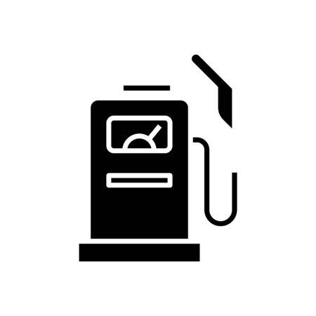 Gas station black icon, concept illustration, glyph symbol, vector flat sign.
