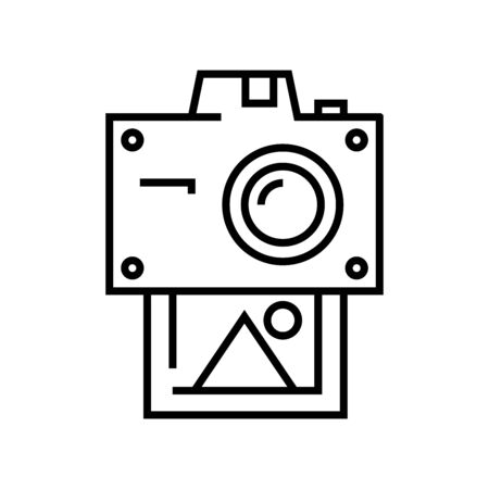 Polaroid camera line icon, concept sign, outline vector illustration, linear symbol.