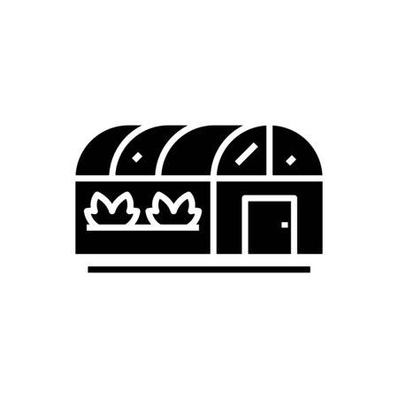Greenhouses black icon, concept illustration, vector flat symbol, glyph sign.