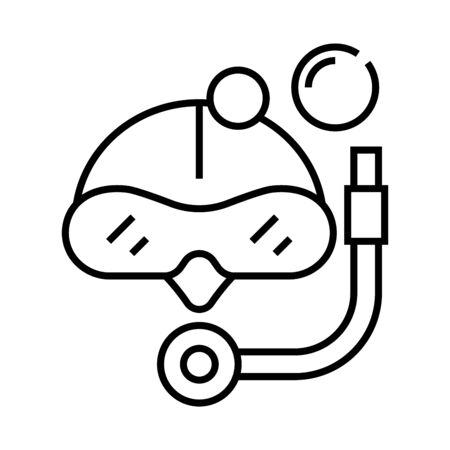 Skiing amunition line icon, concept illustration, outline symbol, vector sign, linear symbol.