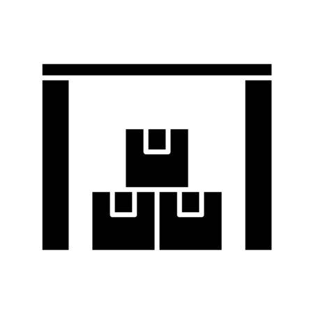 Goods storage area black icon, concept illustration, vector flat symbol, glyph sign.