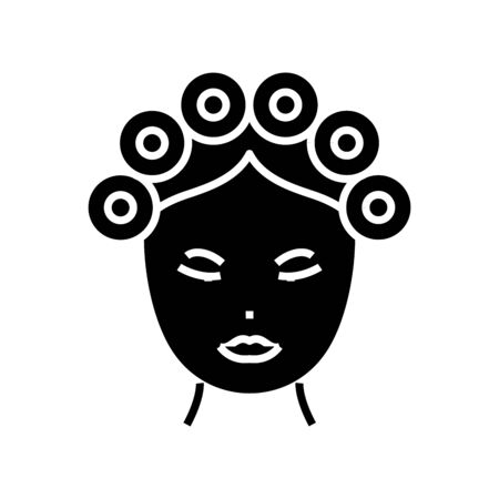 Hair curlers black icon, concept illustration, vector flat symbol, glyph sign.