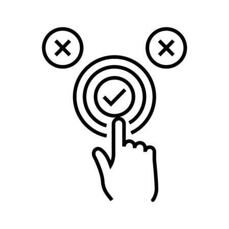 Right choise line icon, concept illustration, outline symbol, vector sign, linear symbol.  イラスト・ベクター素材