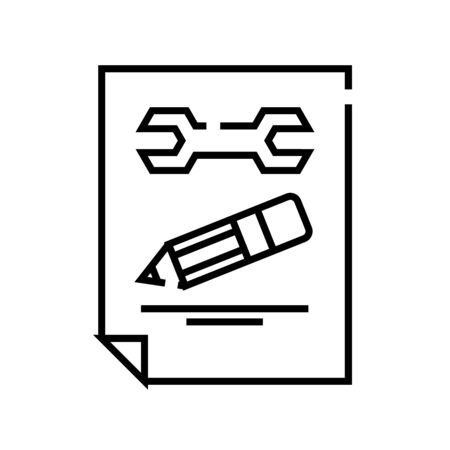 Settings report line icon, concept sign, outline vector illustration, linear symbol. Иллюстрация
