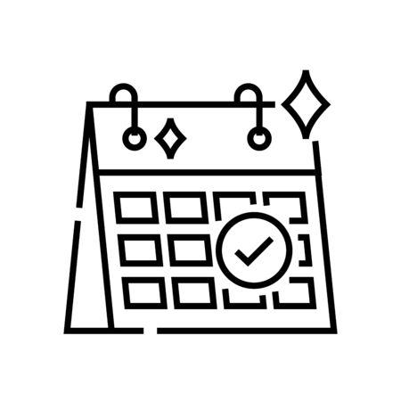 Schedule release line icon, concept sign, outline vector illustration, linear symbol. Illustration