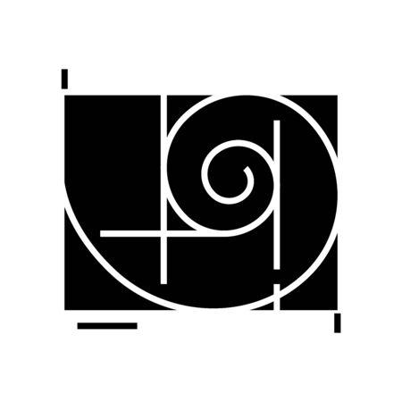 Golden ratio black icon, concept illustration, vector flat symbol, glyph sign.