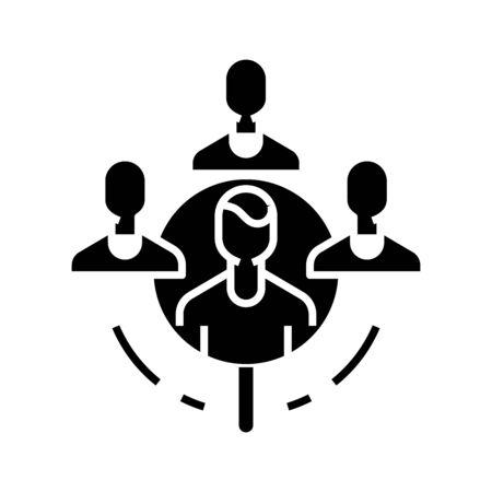 Headhunting black icon, concept illustration, glyph symbol, vector flat sign. Illustration