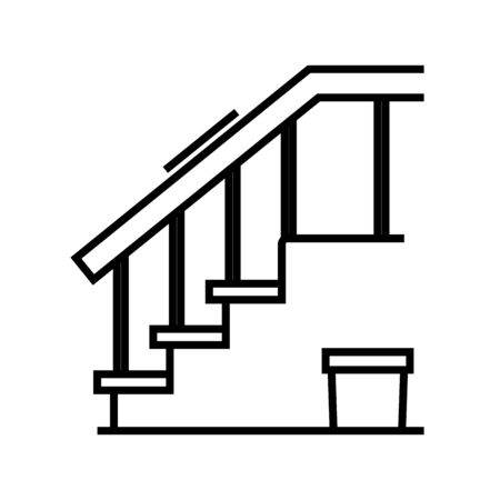 Room stairs line icon, concept sign, outline vector illustration, linear symbol. 일러스트