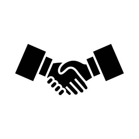 Hand shake black icon, concept illustration, glyph symbol, vector flat sign.