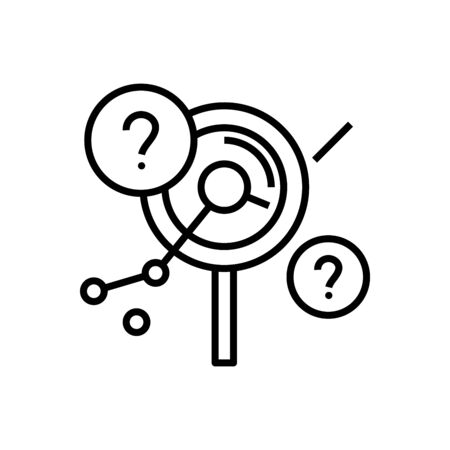 Searching difficulties line icon, concept sign, outline vector illustration, linear symbol. Archivio Fotografico - 141529110