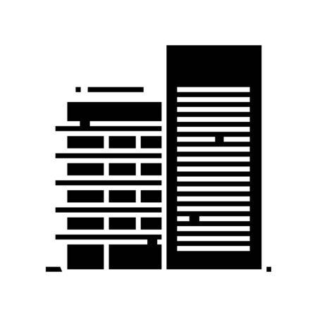 High building black icon, concept illustration, vector flat symbol, glyph sign.