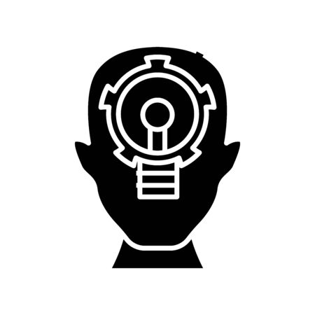 Key task black icon, concept illustration, vector flat symbol, glyph sign.
