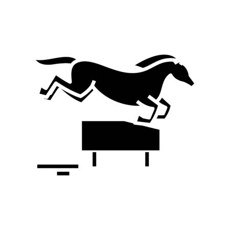 Horse jumping black icon, concept illustration, vector flat symbol, glyph sign.