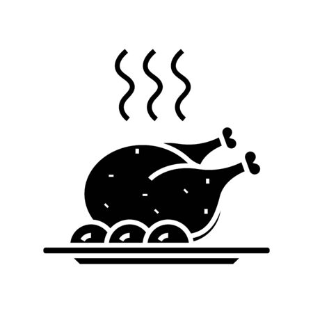 Hot chiken black icon, concept illustration, vector flat symbol, glyph sign. Ilustração Vetorial