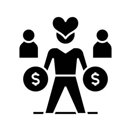 Loving money black icon, concept illustration, vector flat symbol, glyph sign. Vektoros illusztráció