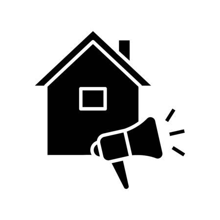 Listing for the house black icon, concept illustration, vector flat symbol, glyph sign. Ilustração