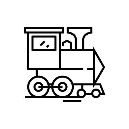 Steam locomotive line icon, concept sign, outline vector illustration, linear symbol.