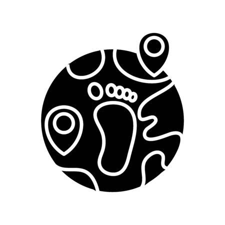 Human footprint black icon, concept illustration, glyph symbol, vector flat sign. Stock Illustratie
