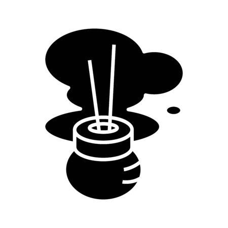 Incense stics black icon, concept illustration, vector flat symbol, glyph sign. Vettoriali