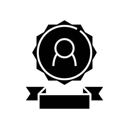 Honorable emblem black icon, concept illustration, vector flat symbol, glyph sign. 일러스트