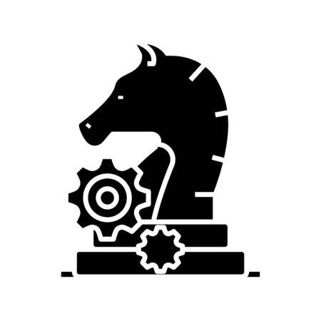 Knight move black icon, concept illustration, glyph symbol, vector flat sign.
