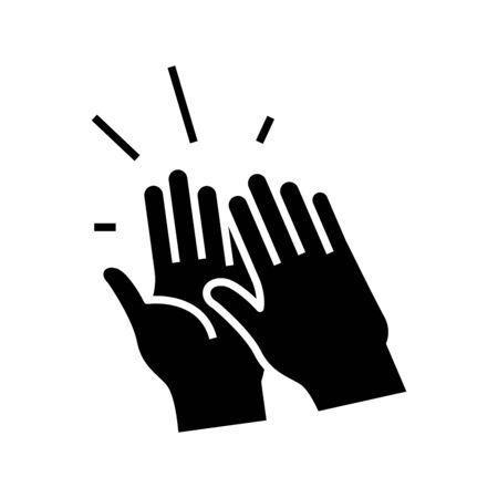 Ovations black icon, concept illustration, vector flat symbol, glyph sign.