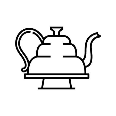 Teapot line icon, concept illustration, outline symbol, vector sign, linear symbol. Ilustração