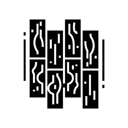 Parquet black icon, concept illustration, vector flat symbol, glyph sign.
