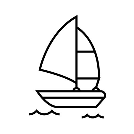 Surfing boat line icon, concept sign, outline vector illustration, linear symbol. Vettoriali