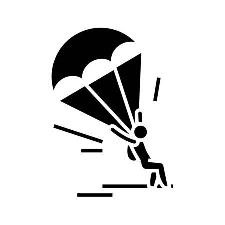 Paraplane black icon, concept illustration, vector flat symbol, glyph sign.